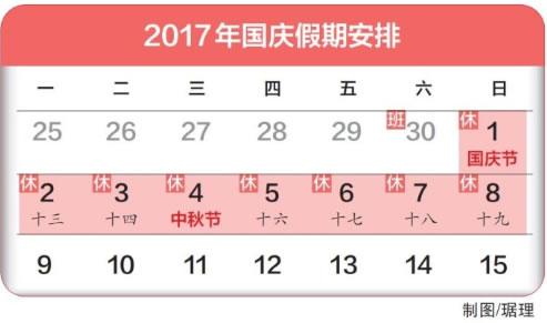 2017年我司中秋节、国庆节放假安排